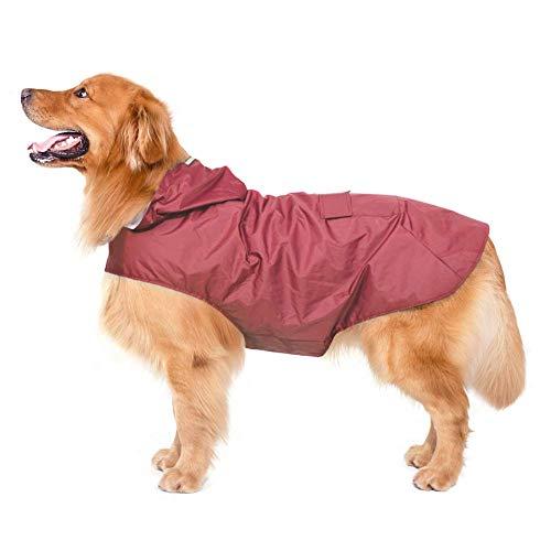 Bwiv Impermeables para Perros Grandes con Capucha Ajustable Ultra-Light Transpirable Impermeable para Mascotas Perros con Banda Reflectante Talla 3XL-5XL (6XL, Rojo)