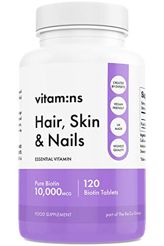 Biotin Pure Hair Skin & Nail Growth Supplement for Women & Men | Highest Strength Vitamin for Regrowth & Complexion | 120 Day Supply | Made in The UK by Vitam:ns