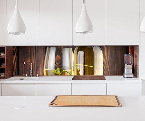 Aufkleber Küchenrückwand Wein Weißwein Glas Flasche Trauben Folie selbstklebend Dekofolie Fliesen Möbelfolie Spritzschutz 22A1193, Höhe x Länge:70cm x 400cm