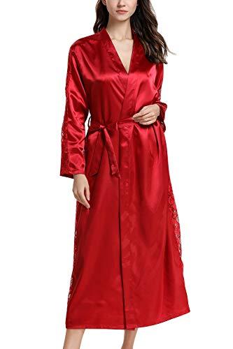 Dolamen Mujer Vestido Kimono Satén Largo, Cordón Camisón para Mujer, Lujoso Robe Albornoz Dama de Honor Ropa de Dormir Pijama, Busto 108 cm, 45,52 Inch (Rojo)