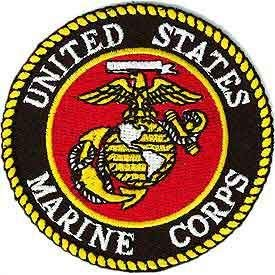 United States Military Patch, USA Marine Corps Logo - Embroidered Sew On/Iron On Patriotic Patch - 3' Round