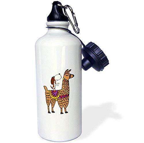 ANGELA G Grappige Leuke Luiaard met Sombrero Rijden Wit RVS Water Fles Llama Cartoon Strowater Fles