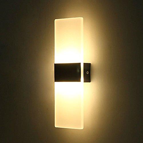 ERWEY 12W LED Acryl Wandleuchte Warmweiß Wandlampe Schwarz Modern Design Nachttischlampe Dekorative Beleuchtung Ideal Für Schlafzimmer Wohnzimmer Treppe Flur Und Eingang