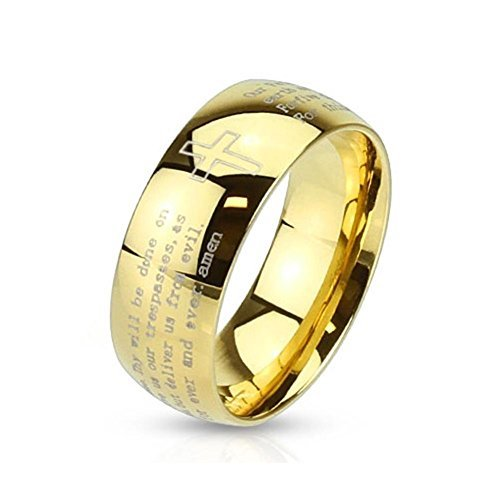Tapsi´s Coolbodyart®|Dome Ring Edelstahl 8mm Breit Kreuz Vater Unser Amen Gold 63(20)