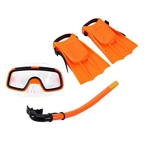 Bnineteenteam snorkelset voor kinderen, snorkelpakketten voor kinderen van 3-4 jaar met masker, snorkel-cuba-bril en siliconenvinnen (oranje)
