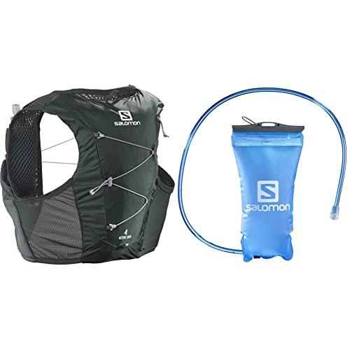 SALOMON Active Skin 4 Set, Gilet Unisex per l'Idratazione da Trail, 4 L, con Incluse 2 Borracce Morbide, XL, Verde Scuro + Sacca d'Idratazione da 1.5 L con Sistema a Incastro per Trail Running
