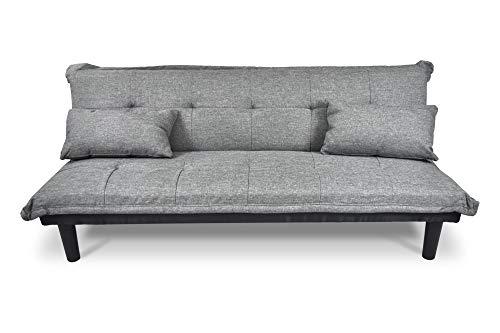 Divano letto clic clac, divanetto Russell in tessuto grigio chiaro