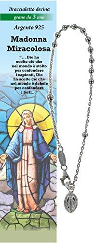 Pulsera Rosario Virgen Milagrosa de Plata 925 - diámetro de las cuentas 3 mm - Oración en italiano