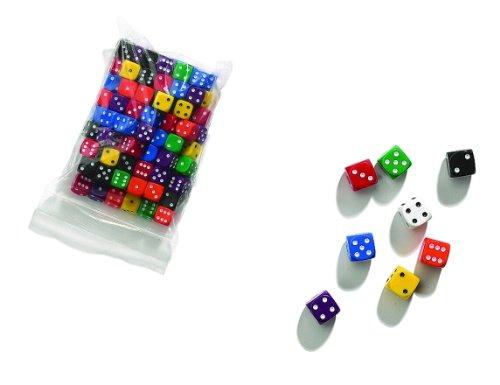 Philos 7151 - Dadi 12 mm, sacchetto da 100 pezzi, colori opachi, Modelli/Colori Assortiti, 1 Pezzo