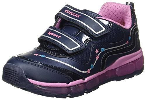 Geox Girls J Android B Sneaker, Navy/Dk Pink, 27 EU