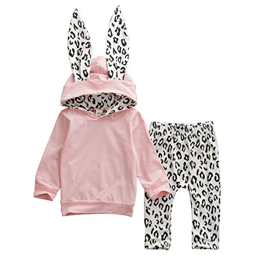 Bebé Recién Nacida Chándal de Niñas Pequeñas 2 Piezas Conjunto Sudadera con Capucha de Orejas Animales Camiseta de Manga Larga Pantalones Largos con Estampado de Leopardo (Rosa, 6-12 Meses)
