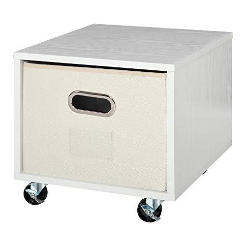 Vinsetto Cassettiera Portadocumenti da Ufficio in Legno Bianco con 4 Ruote e Cassetto Estraibile in Tessuto