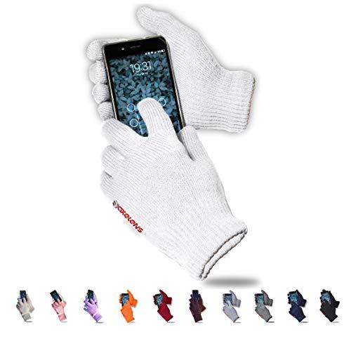 axelens Guantes Touch Screen Táctiles Invernales Calientes Cómodos Unisex Interior de Felpa para Smartphones Celulares Teléfonos Móviles Tablets - Hombre Mujer - Confección Regalo Incluida - Blanco