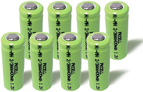 8 x 1,2 V NiMH 2/3AAA 400 mAh wiederaufladbare Batterie für Garten-Solarleuchten(Flacher Kopf)