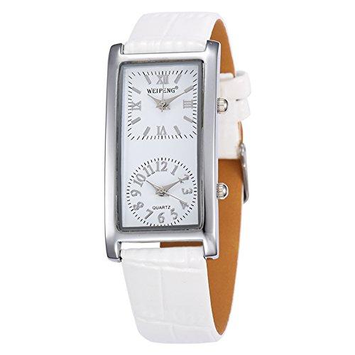 Unendlich U Fashion Damen Quarzarmbanduhr Weiß PU Lederband Armbanduhr mit Doppelt Zifferblatt Römische, Arabische Ziffern für Frauen/Mädchen