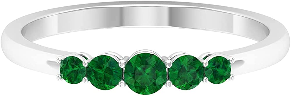 1/2 CT Five Stone Created Emerald Promise Ring, 14K Solid Gold