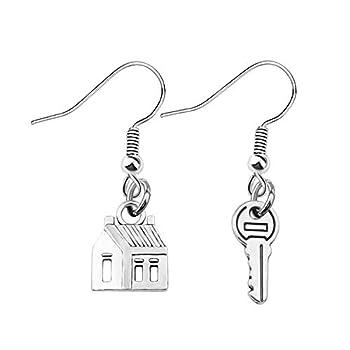 bobauna Realtor House Key Asymmetrical Dangle Drop Earrings Real Estate Agents Jewelry Gift For Home Seller Realtor  realtor earrings