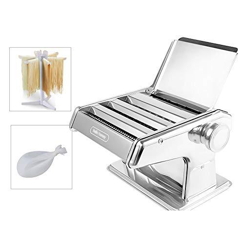 Nudelmaschine - Edelstahl Roller Nudelmaschine - 6 einstellbar Stärkeeinstellungen Noodles Maker Convenience (Farbe: Silber, Größe: 3 Nudel-Messer), Größe: 2 Nudel-Messer, Farbe: Silber