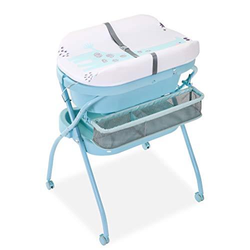 Faltbarer Wickeltisch für Babys, klappbarer Wickeltisch mit Badewanne und Wickelauflage in Weiß, Pflegetisch und Universalrollen (Farbe: Weiß)