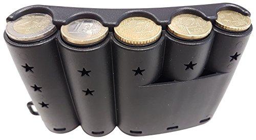CLAIRE-FONCET Dispensador de Monedas Curvado para las 5 principales piezas de Euro, distribuidor de moneda redondeado para engancharlo al cinturon, ideal para Camarero, Camarera, Vendedores