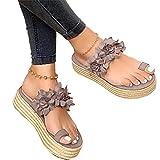 Sandalias Mujer Verano 2020 Zapatos de Plataforma Florales Cuña Sandalias para Mujer Verano Zapatos de Boca de Pescado Playa Zapatillas Sandalias de Punta Abierta Fiesta Roman Tacones Altos,Gris,42
