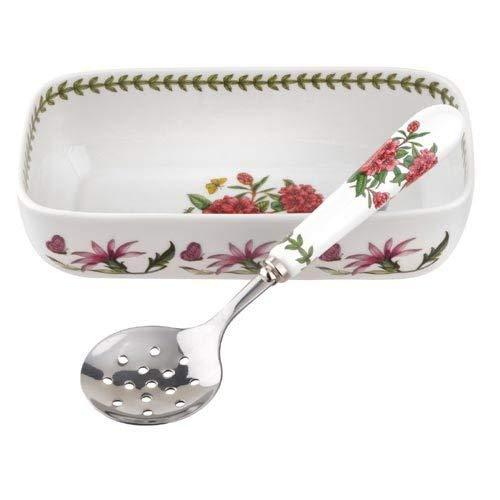 Portmeirion 608832 Botanic Garden Cranberry Dish & Slotted Spoon.