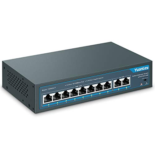 YuanLey 10 Port PoE Switch, 8 PoE Port 100Mbps, 2 Uplink Gigabit, 120W 802.3af/at, Erweitern Sie die Funktion, Metal Fanless Plug and Play