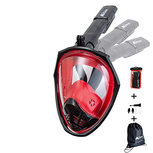 Folding Full Face Snorkeling Mask With Drawstring Bag And Waterproof Phone Case, UK Seller, Breathe Through Your Nose and Mouth | 180 Degree View With Non Fogging Design (SM - Black & Red)