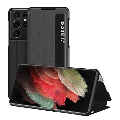 Samsung Galaxy S21 Ultra 5G Hülle, Midcas Klapphüllen mit Sichtfenster Smart View Leder Tasche mit Standfunktion Schutzhülle für Samsung Galaxy S21 Ultra 5G Schwarz