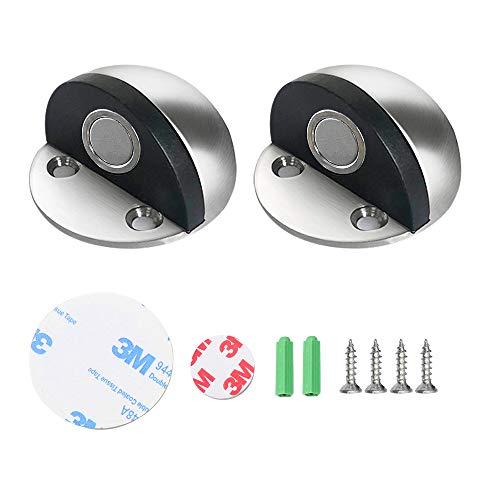 2pcs Topes de Puerta Magnéticos,Topes Puertas Ovalada Retenedor con cojín de goma tornillos y adhesivos Tope de Puerta...