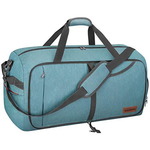 CANWAY Faltbare Reisetasche Leicht Sporttasche mit Abnehmbar Schulterriemen & Schuhfach Reisegepäck für Reisen Sport Gym Urlaub (Grün, 65L)