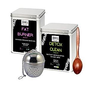 LE PACK DETOX, Elitea comprend 2 boîtes de thé: Détox Fat Burner +Détox Clean Minceur+Une cuillère à thé + Une boule à thé. Accentue la sensation de satiété, le Fat Burner possède des plantes aux vertus amincissantes. Moins agressif que les gélules n...