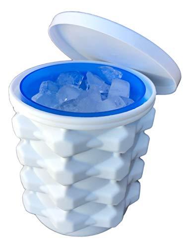 Der ultimative Eiswürfelbereiter aus Silikon mit Deckel macht kleine Nugget-Eis-Chips für Softdrinks, Cocktail-Eis, Wein auf Eis, Crushed Ice Maker Bucket Ice Tray Silikon Eiswürfelformen Zylinder-Eis