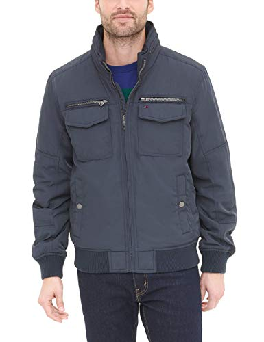 Tommy Hilfiger Men's Water and Wind Resistant Performance Bomber Jacket (Standard and Big & Tall), Navy, Medium