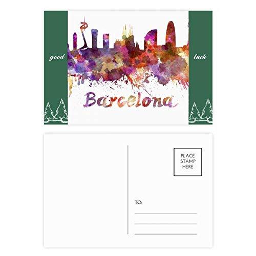 Barcelona Spanien City Aquarell-Postkarten-Set, Glücksbringer, 20 Stück
