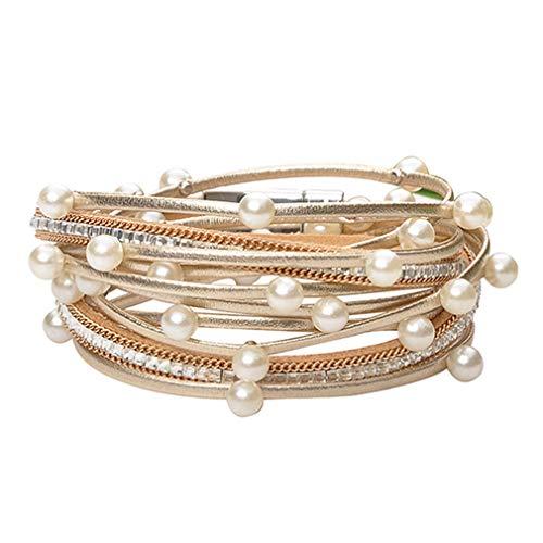 Leather Cuff Bracelets for Women - Charm Boho Handmade Braid Wrap Bracelets wristbands Casual braided Handmade magnetic bracelet Cuff Bangle (Gold bead wrap bracelets)