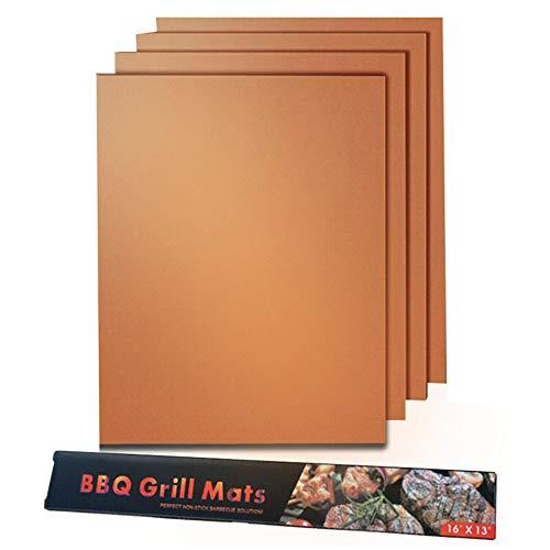 Grillmatte,BBQ Grillmatten Wiederverwendbar Antihaftbeschichtung für bis 260°C Holzkohle Gasgrill Elektro Grill and Backofen zu Grillen Fleisch Gemüse Meeresfrüchte Eier 4 Packungen Kupfer