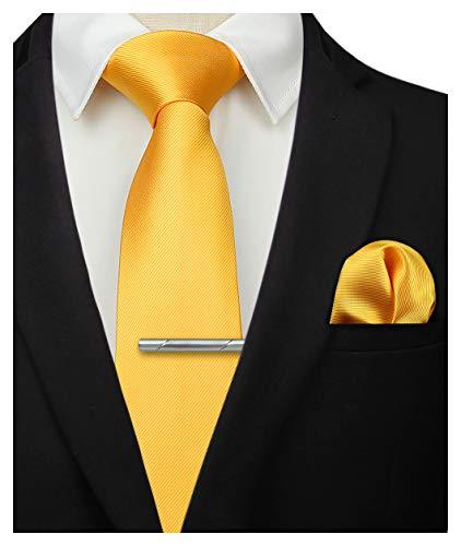 HISDERN Panuelo de corbata amarillo solido para hombre Fiesta de bodas Corbata clasica y conjunto de bolsillo cuadrado