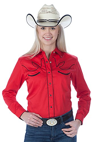 Sunrise Outlet Women's Cotton Retro Western Cowboy Shirt-Red-Small