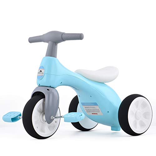 UBRAVOO Toddler Tricycle, Light Baby Balance Bike Trike with BB Sound and Basket, Tricycle for 1-3 Years Old Boys Girls, Blue Ride-on Toys Gifts Indoor Outdoor