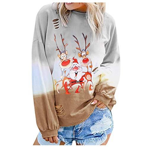LILICAT Damen Langarmshirt Oberteil Basic T-Shirt Beiläufig Farbverlauf Shirt Casual Lose Shirt Tees Mode Rundhals Langarm Pullover Weihnachten Printing Lange Ärmel Bluse