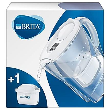 BRITA Marella blanca – Jarra de Agua Filtrada con 1 cartucho MAXTRA+, Filtro de agua BRITA que reduce la cal y el cloro, Agua filtrada para un sabor óptimo, 2.4L