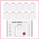 Sweet Safety Baby Lätzchen Set zum Bemalen Baumwolle Rosa Weiß für Mädchen Geschenk Geburt Spiele Babyparty 10 Stück