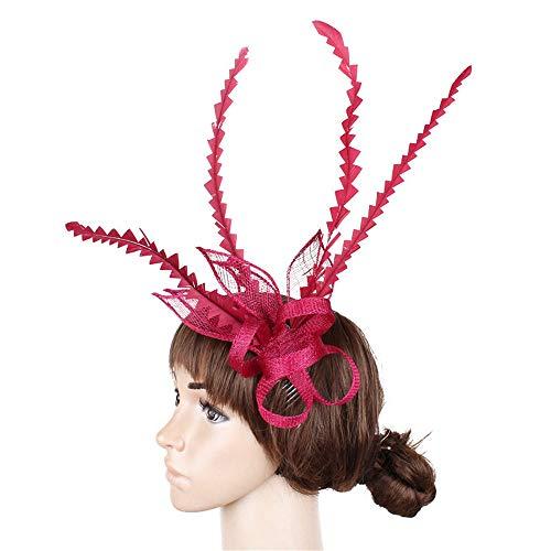 Ouuager-Home Bandeau de fascinateur de Cheveux Pinces À Cheveux Lady Plume Fascinator Plume Fleur Épingle À Cheveux Attachement Cocktail Thé Party Roy