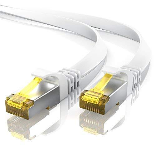 2m CAT 7 Netzwerkkabel Flach - Ethernet Kabel - Gigabit Lan 10 Gbit s - Patchkabel - Flachbandkabel - Verlegekabel - Cat.7 Rohkabel U FTP PIMF Schirmung mit RJ 45 Stecker - Switch Router Modem