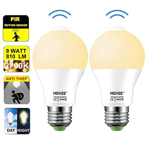 Motion Sensor LED Light Bulb 9W A19 PIR Built-in IR 60W Equivalent Bright 810 Lumens E26 Base Warm White Bulbs (2 Packs)