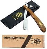 The Cambridge Cut Throat Rasoir Droit de Barbier avec Système de Verrouillage – Kit avec pochette de voyage en cuir – Accessoire pour homme, cadeau pour la toilette