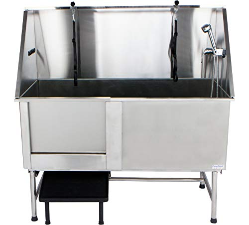 """PawBest Stainless Steel Dog Grooming Bath Tub with Ramp, Faucet, Hoses and Loops (62"""" Bathtub)"""