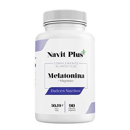 Melatonina + Magnesio + Melisa + Pasiflora + Valeriana + Tila | Combinación 100% natural para dormir mejor | Mejora tu descanso y estado de ánimo | Dulces sueños NAVIT PLUS | Fab Esp | VEGANO.