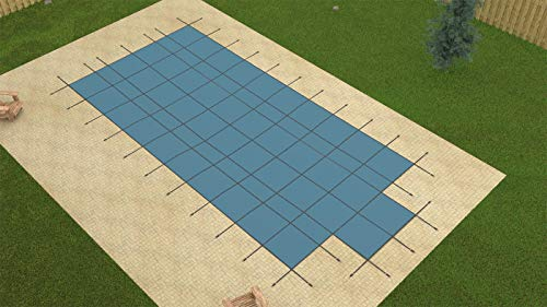 GLI Secur-A-Pool 18 FT X 36 FT Rectangular Mesh Safety Cover System with 4 FT X 8 FT Center End Step, Blue